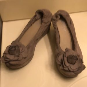 Suede wedges with rose accents SALE